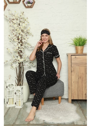 Akbeniz Kadın %100 Pamuk Önden Düğmeli Kısa Kol Pijama Takım 2808 Siyah